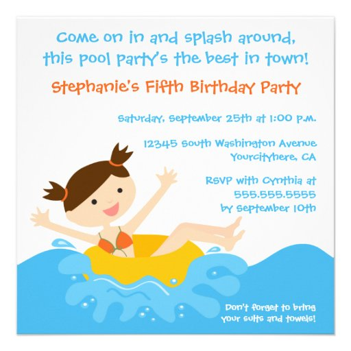 Cute splash girl's pool party birthday invitation