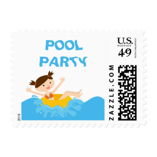 Cute splash girl's pool party birthday stamps