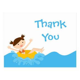Cute splash girl's pool party thank you postcard