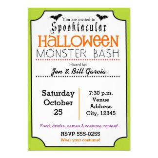 Cute Spooktacular Halloween Party Green Invitation