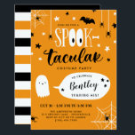 """Cute Spooktacular Kids Halloween Birthday Invitation<br><div class=""""desc"""">Cute Halloween birthday party invitation with Spooktacular written in a combination of fun fonts, the double o's in spook designed to look like large eyes. The text is surrounded by stars, spiders, and a bat. And a cute ghost tells your guests the birthday child's name and age. The back features...</div>"""