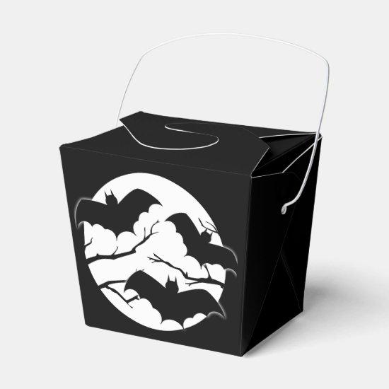 Cute Spooky Bats In Moon Halloween Favor Boxes