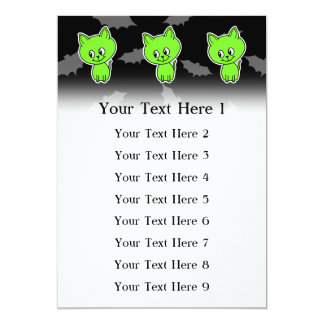 Cute Spooky Green Cat with Bats. Card
