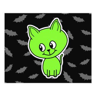 Cute Spooky Green Cat with Bats. Flyer Design