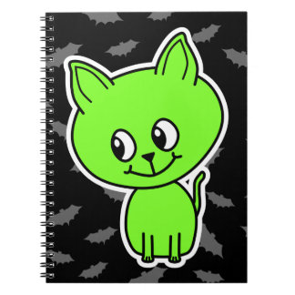 Cute Spooky Green Cat with Bats Spiral Note Books