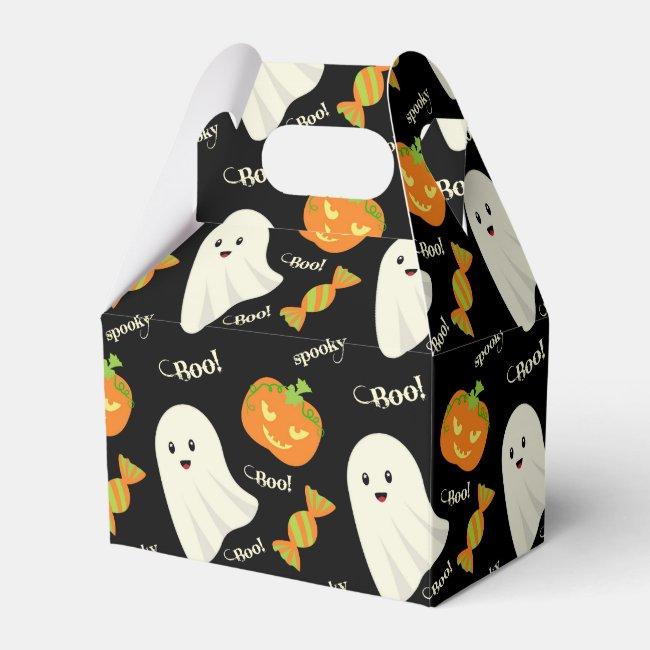 Cute Spooky Halloween Ghost Pumpkin Candy Pattern Favor Box