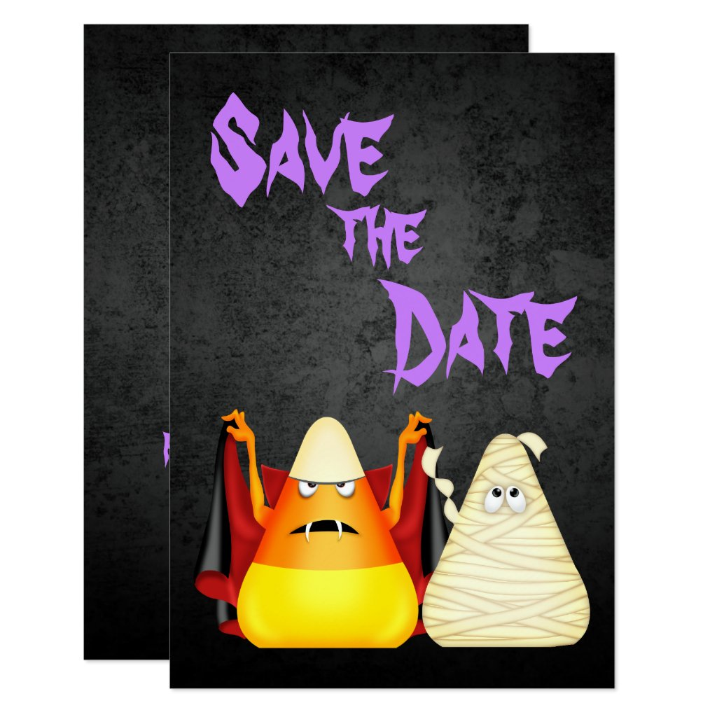 Cute Spooky Halloween Save the Date Wedding Invite