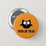 Cute Spooky Halloween Trick or Treat Black Owl Pinback Button