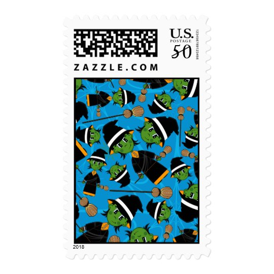 Cute Spooky Halloween Witch Pattern Postage