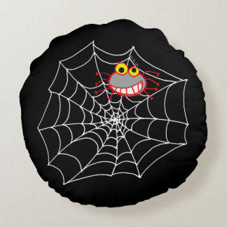 cute spooky spider - Happy Halloween Round Pillow