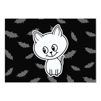 Cute Spooky White Cat and Bats. Card