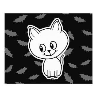 Cute Spooky White Cat and Bats. Custom Flyer