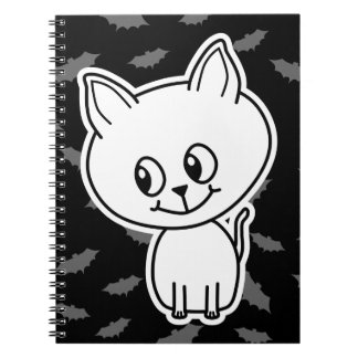 Cute Spooky White Cat and Bats Journals