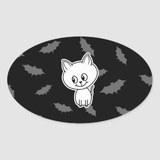 Cute Spooky White Cat and Bats. Oval Sticker