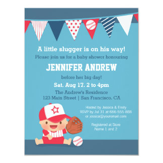 Cute Sports Boy Baseball Baby Shower Invitations