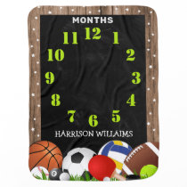 Cute Sports Themed Month Milestone Baby Blanket