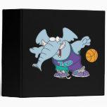 cute sporty dribbling basketball elephant binder