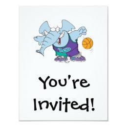 cute sporty dribbling basketball elephant card