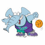 cute sporty dribbling basketball elephant cut out