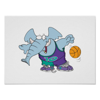cute sporty dribbling basketball elephant poster