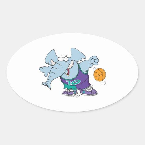cute sporty dribbling basketball elephant oval sticker