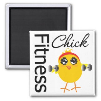 Cute Sporty Fitness Chick 2 Inch Square Magnet