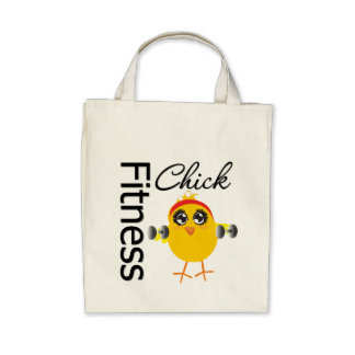 Cute Sporty Fitness Chick Tote Bags