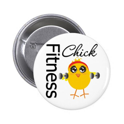 Cute Sporty Fitness Chick Pinback Buttons
