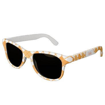 Beach Themed Cute Sporty Orange Peach White Argyle Monogrammed Sunglasses