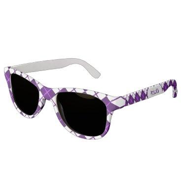 Beach Themed Cute Sporty Purple Grape White Argyle Monogrammed Sunglasses