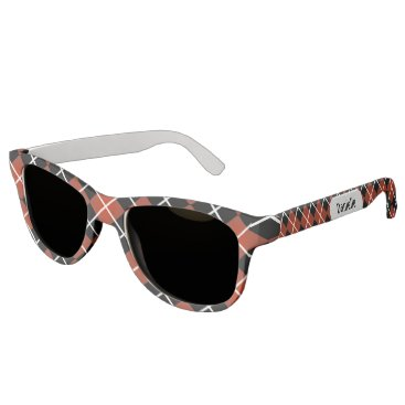 Beach Themed Cute Sporty Red White Black Argyle Monogram Sunglasses