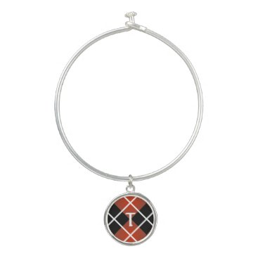 Beach Themed Cute Sporty Red White Black Argyle Monogrammed Bangle Bracelet