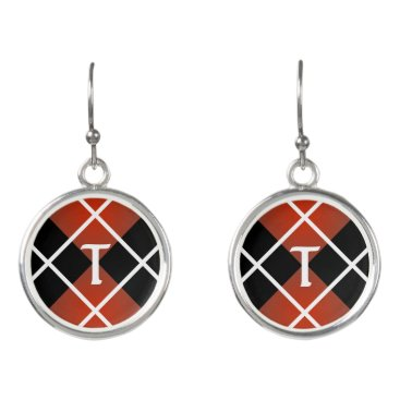Beach Themed Cute Sporty Red White Black Argyle Monogrammed Earrings