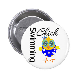 Cute Sporty Swimming Chick 2 Inch Round Button