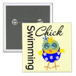 Cute Sporty Swimming Chick 2 Inch Square Button