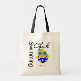 Cute Sporty Swimming Chick Budget Tote Bag