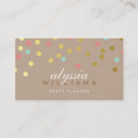 cute spot confetti trendy gold coral mint kraft business card - Kraft Business Cards