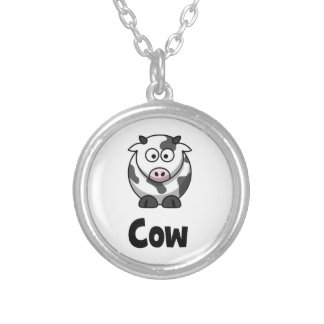 Cute Spotted Cow Silver Plated Necklace
