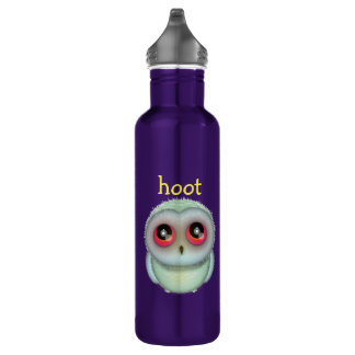 Cute Spotted Owl Illustration Hoot 24oz Water Bottle