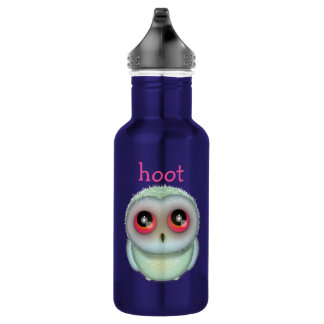 Cute Spotted Owl Illustration Hoot 18oz Water Bottle