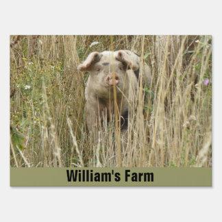 Cute Spotty Pig Custom Farm Sign