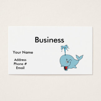 cute spouting whale business card