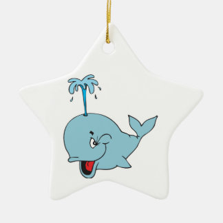 cute spouting whale Double-Sided star ceramic christmas ornament