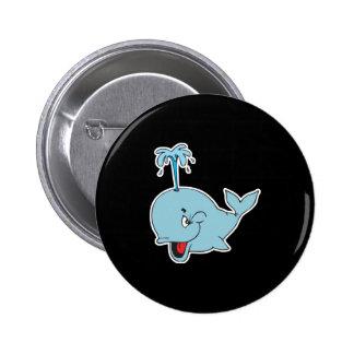 cute spouting whale pinback button
