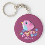 Cute Spring Baby Bird with Name keychain
