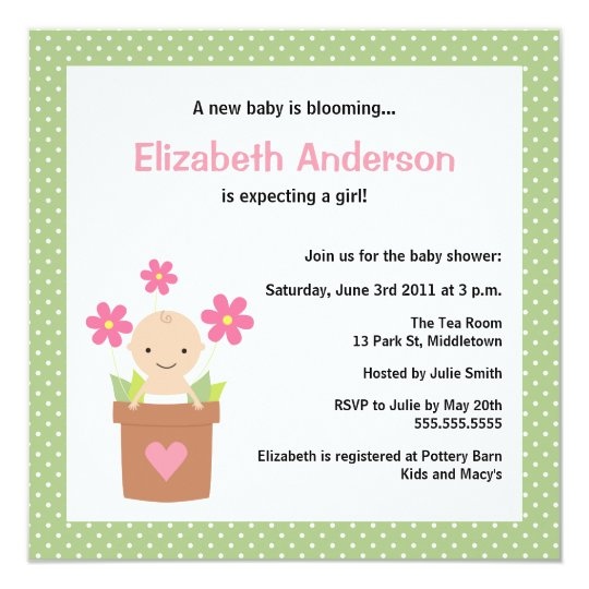 Cute Spring Baby Shower Invitation - Girl