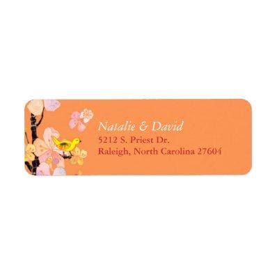 Cute Spring Bird Orange Wedding Label