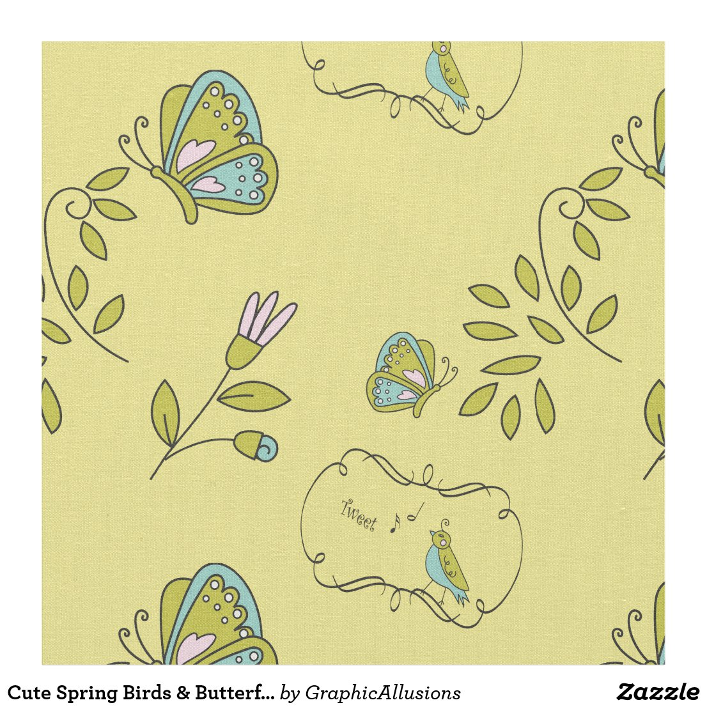 Cute Spring Birds & Butterflies Fabric