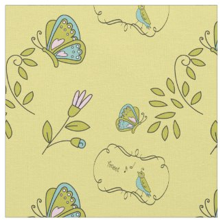 Cute Spring Birds & Butterflies Fabric