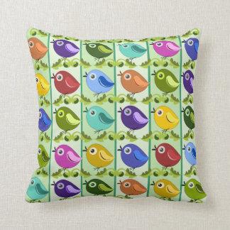 Cute Spring Birds & retro leaves Throw Pillow
